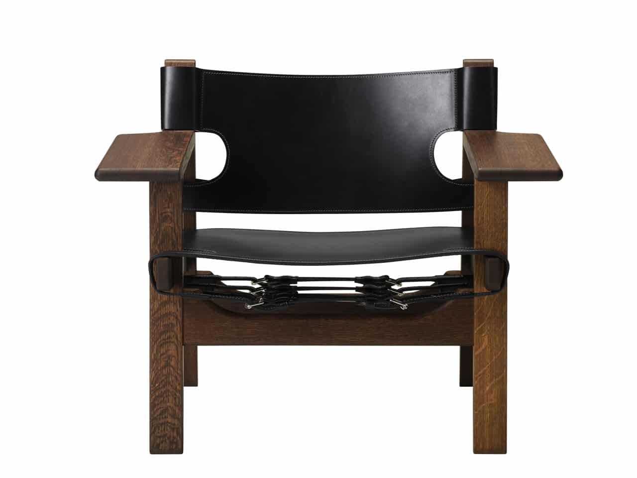 Spanish Chair, smoked oak, black leather v1