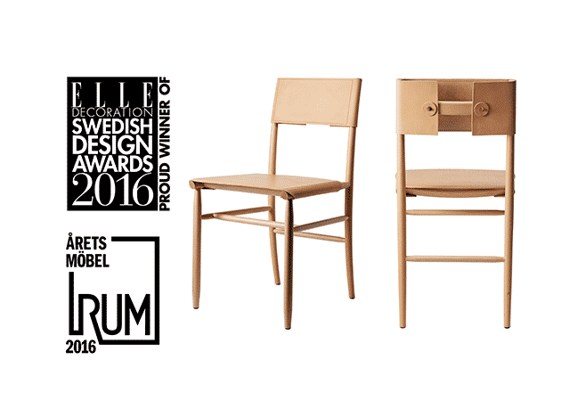 David Eriksson and chair Madonna winner of Elle Decoration and Årets Rum 2016 for the year's furniture