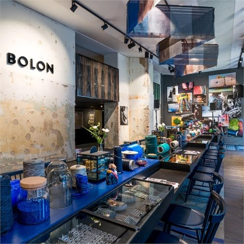 Lilla Åland chairs were a conscious choice when seats were needed for Bolon's Lab Store