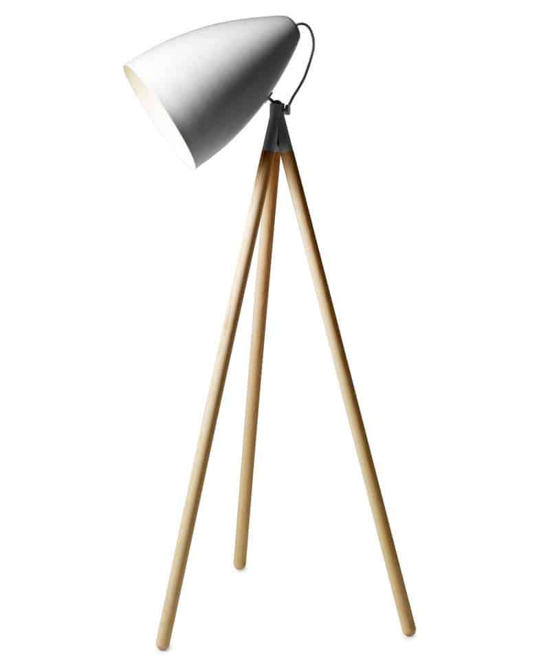 Floor Lamp With Natural Ash Legs White Lacquered Shade